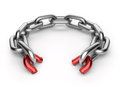 Breaking chain. Weak link concept 3D Royalty Free Stock Photo
