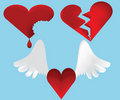 Breaking hearts icon set Stock Photography