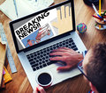 Breaking news announce article information concept Royalty Free Stock Image