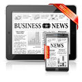 Breaking News Concept - Tablet PC, Smartphone Royalty Free Stock Photos