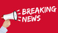 Breaking news media announcement announce information megaphone Royalty Free Stock Photo