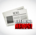 Breaking news newspaper illustration design over white Royalty Free Stock Images