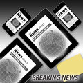 Breaking news on tablet and phone an image showing how the can be shown a pc mobile at the same time the is the same both Stock Image