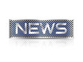 Breaking news text business sign silver on grey blue metal plate against white background Royalty Free Stock Image
