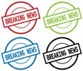 BREAKING NEWS text, on round simple stamp sign. Royalty Free Stock Photo