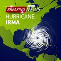 Breaking news TV, realistic Hurricane cyclone vector illustration on USA map, typhoon spiral storm logo on green world