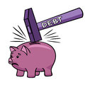 Breaking the piggy bank large debt can destroy all savings Royalty Free Stock Images