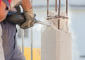 Breaking reinforced concrete with jackhammer Royalty Free Stock Photo