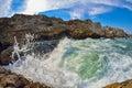 Breaking waves on the rocky coast of the Black Sea at Tyulenovo, Bulgaria Royalty Free Stock Photo