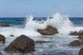 Breaking waves at rocky coast of Madeira Island Royalty Free Stock Photo