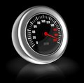 Breakneck speed d image of gauge over black background Stock Photography