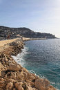 Breakwall nice concrete in at french riviera Stock Photo