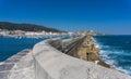 Breakwater castro urdiales and marina city Stock Image