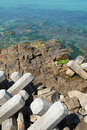 Breakwater with concrete blocks for protection of coast Royalty Free Stock Image