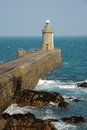Breakwater lighthouse castle coronet guernsey channel islands Royalty Free Stock Images
