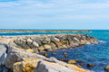 Breakwater protecting the beaches of the french riviera Royalty Free Stock Photography