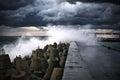 Breakwater at storm Royalty Free Stock Photo
