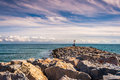 From the breakwater to the sea views of and sun Royalty Free Stock Photography