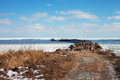 Breakwater winter time gulf riga baltic sea Royalty Free Stock Photo