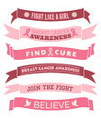 Breast cancer awareness banners a set of pink and ribbons isolated on white Royalty Free Stock Photo