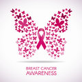 Breast cancer awareness with Butterfly sign and pink ribbon vector illustration Royalty Free Stock Photo