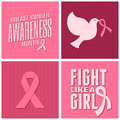 Breast cancer awareness cards collection a set of design with different symbols in pink Stock Images