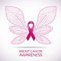 Breast cancer awareness with Dot line Butterfly sign and pink ribbon vector illustration design