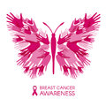 Breast cancer awareness with Hands Butterfly sign and pink ribbon vector illustration