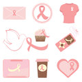 Breast cancer awareness icons Stock Image
