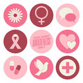Breast cancer awareness icons collection a set of nine flat design isolated on white Royalty Free Stock Images