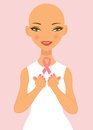 Breast cancer awareness lady holding pink ribbon Royalty Free Stock Image