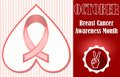 Breast cancer awareness month october. Hopeful leaflet or label template Royalty Free Stock Photo