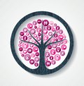 Breast cancer awareness pink health icon tree