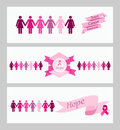 Breast cancer awareness ribbon web banners set women figures and elements vector file organized in layers for easy editing Stock Images