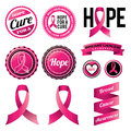 Breast cancer awareness ribbons and badges a set of vector eps available Royalty Free Stock Photos