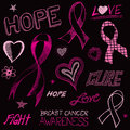 Breast cancer awareness sketch a handdrawn doodle art of symbols eps each element is separate from the other elements and Stock Image