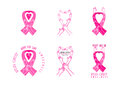 Breast cancer awareness symbol design in a set Royalty Free Stock Images