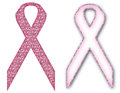 Breast cancer awareness symbol ribbon pretty pink glitter Stock Photo