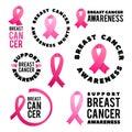 Breast Cancer Awareness Vector Set. Poster Design. Stroke Pink Ribbon. October is Cancer Awareness Month