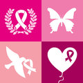 Breast cancer over pink background vector illustration Royalty Free Stock Photos