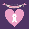 Breast cancer over purple background vector illustration Royalty Free Stock Photo