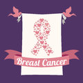 Breast cancer over purple background vector illustration Stock Photo