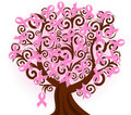 breast cancer pink ribbon tree
