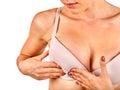 Breast self exam. Royalty Free Stock Photo