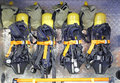 Breathing apparatus self contained with compressed air for firefighters Royalty Free Stock Photo