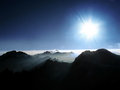 Breathtaking panorama from the top summit Royalty Free Stock Photography
