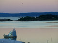 Breathtaking pastel color layer of sky before sunrise over the Oslo Fjord Royalty Free Stock Photo