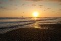 Breathtaking view of amazing sunset in beautiful a beach manabi ecuador Stock Images