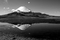 Breathtaking view of volcano parinacota chile stunning with reflection in northern Royalty Free Stock Photos