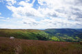 Brecon beacons near llanthony priory valley view in national park in wales in great britain Royalty Free Stock Image